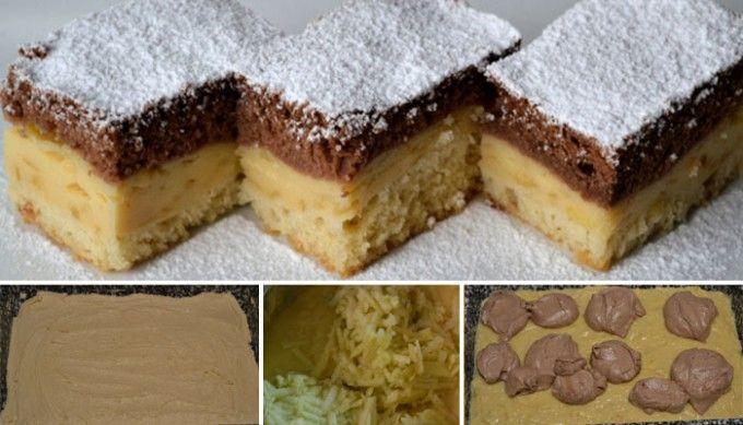 Pudinkový koláč den a noc s jablky | NejRecept.cz