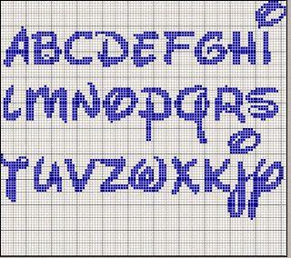 Alfabeto con letras mayúsculas, tipo Disney, para punto de cruz.
