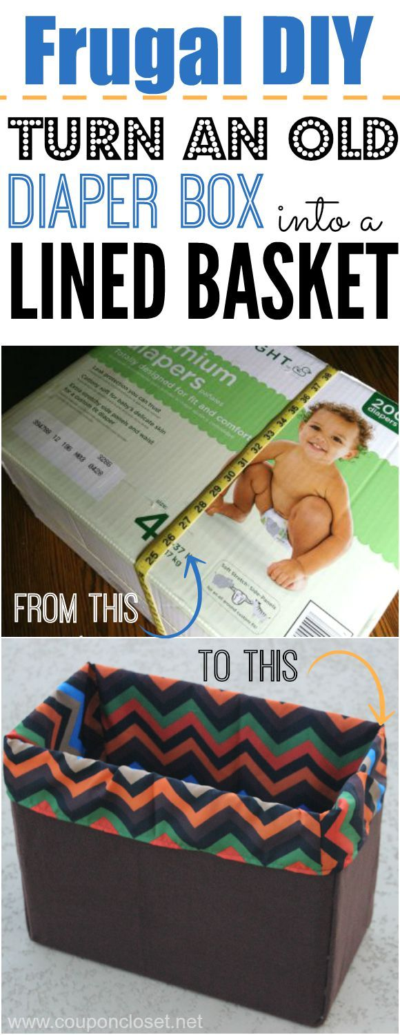 See how you can turn an old diaper box into a beautifully lined basket easily.
