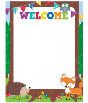 On this Woodland Friends Welcome chart, polka dotted pennants , a wise owl, and a friendly fox provide a bit of whimsy and celebration to welcome students, parents and visitors to school. The blank tree trunk area can be customized with a variety of messages including a teacher's name, classroom number, school name or other organization name (church, preschool, sports team, etc.).  Even use to welcome guests to a woodland birthday party!