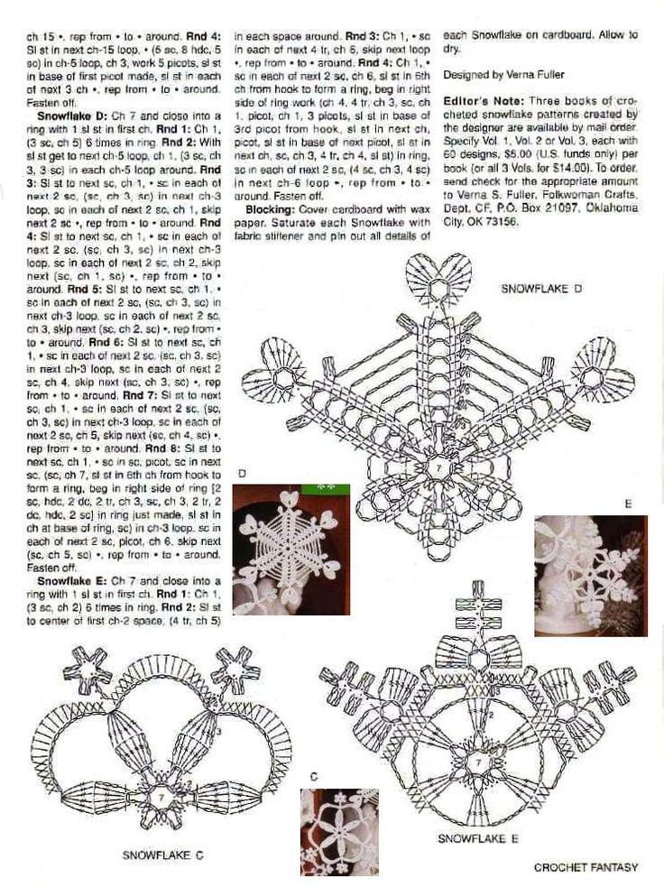 Crochet snowflakes chart pattern