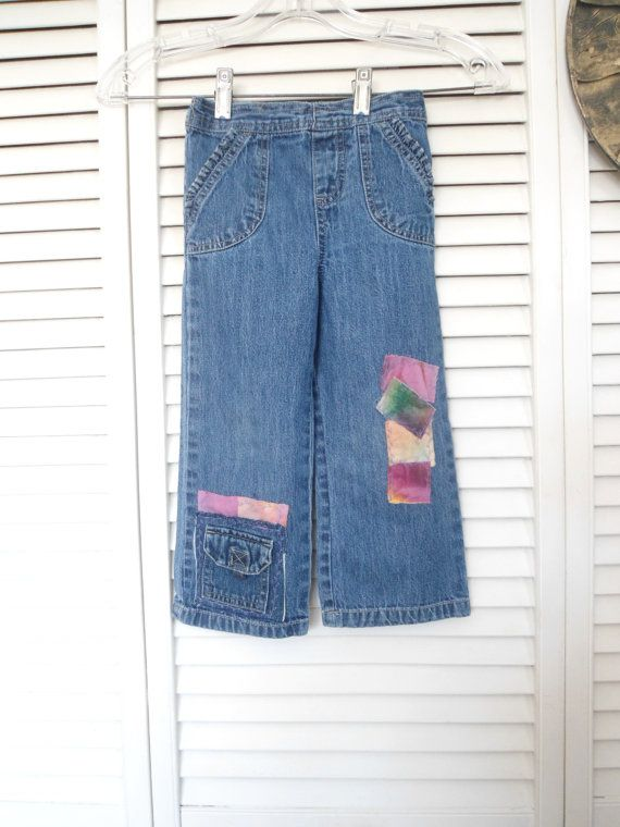 Size 4T Little Girls Refashioned Patched Hippie Jeans by LandofBridget