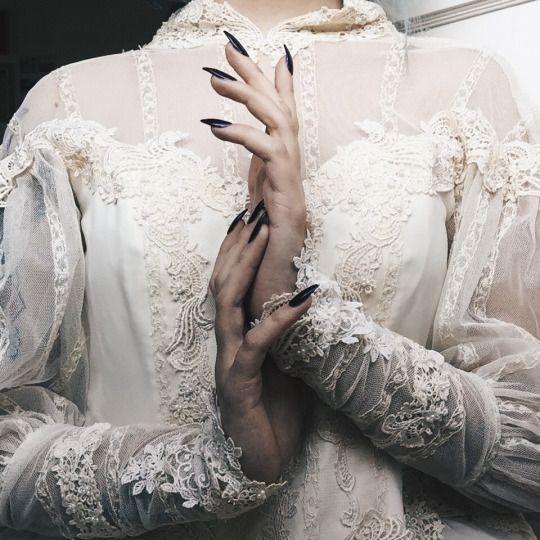long black nails, pale skin, lace sheer shirt, Gothic, Victorian, vampire,