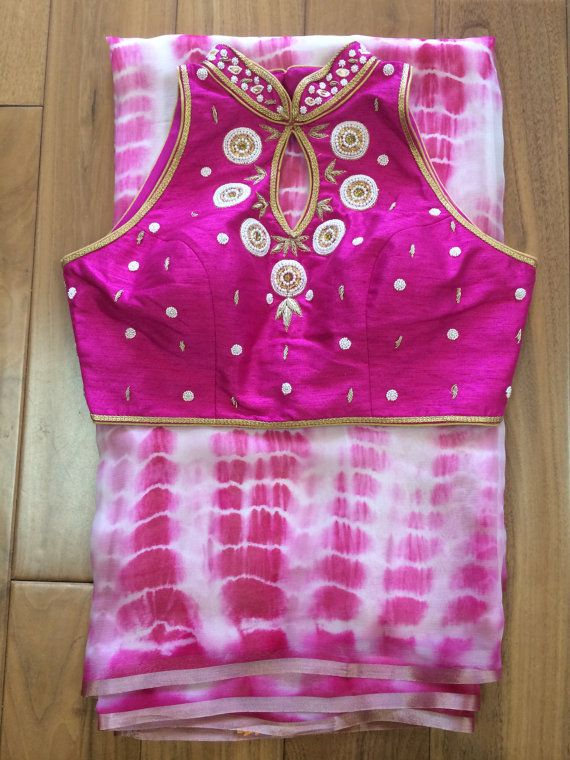 Pure Chiffon Shibori Print Sari With Designer High Neck Blouse