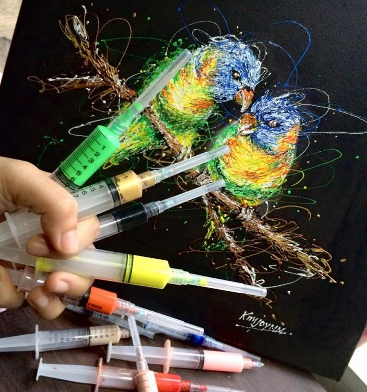 Filipino Nurse Combines Her Profession and Her Passion for Art by Painting with Syringes - http://www.odditycentral.com/art/filipino-nurse-combines-her-profession-and-her-passion-for-art-by-painting-with-syringes.html