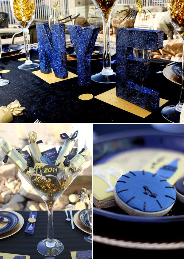 Midnight blue gold new years eve party new years for Midnight blue centerpieces