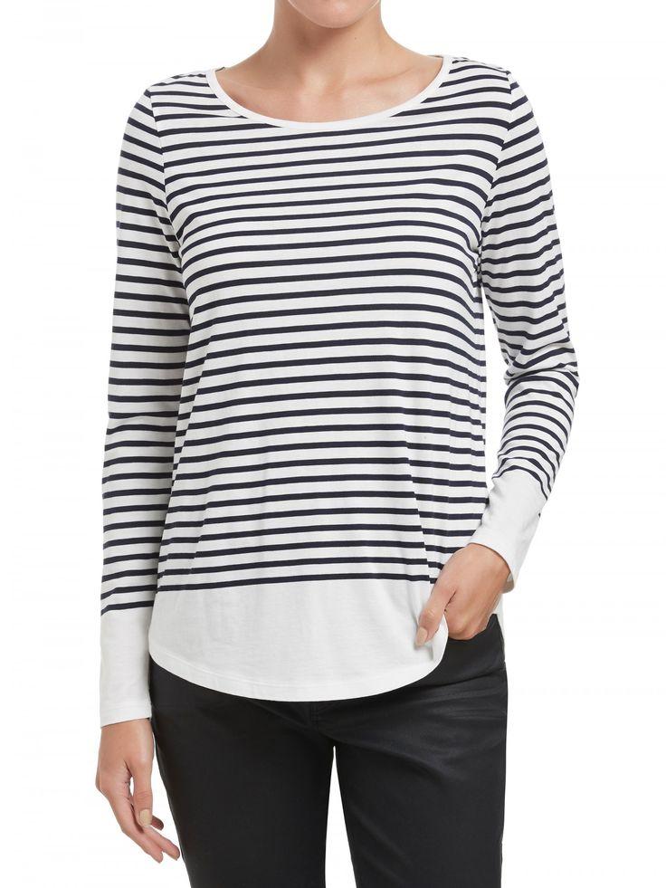 Navy Stripe Shirt Tail Top
