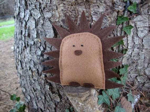 Cute Hedgehog  Felt Woodland Critter  Autumn Fall by MonsterDen, £10.50