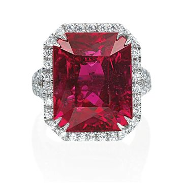 Ohh Myy.... Love this radiant ruby! Custom red ruby and diamond halo ring from Armadani, radiant cut.
