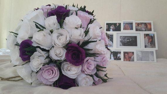 White Purple Light Bridal Bouquet Wedding Crepe by moniaflowers
