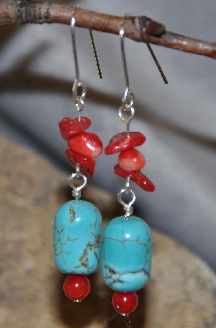 Excited to share the latest addition to my #etsy shop: Ladies Turquoise earrings, Turquoise earrings, Blue bead dangle earrings, Turquoise dangle earrings