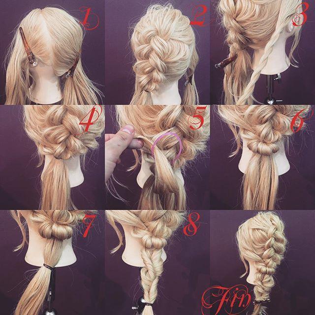 裏編み込みの編み下ろしアレンジ✨ 1,横と後ろを分けます 2,後ろを三つ編みの裏編み込みを作ります 先に崩します 3,横の髪をロープ編みにします 4,横の髪と2番の裏編み込みんとを一緒に結びます 5,アレンジスティックを4番のゴムにさします 6,ゴムを隠します 7,余ってる髪の毛をゴムで結びくるりんぱを作ります 8,連続くるりんぱを作りす Fin,崩したら完成です 動画は編集出来次第アップします★ 参考になれば嬉しいです^ ^ #ヘア#hair#ヘアスタイル#hairstyle#サロンモデル#サロモ#撮影#編み込み#三つ編み#フィッシュボーン#ロープ編み#まとめ髪 #アレンジ#結婚式#ブライダル#ヘアアレンジ#アレンジ動画#アレンジ解説#香川県#高松市#丸亀市#宇多津#美容室#美容院#美容師#emma