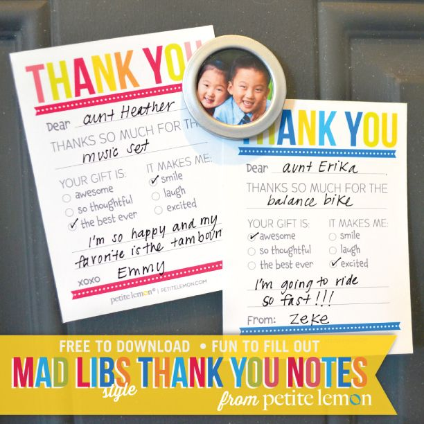 Mad Libs style kids thank you notes - free printables - so cute!