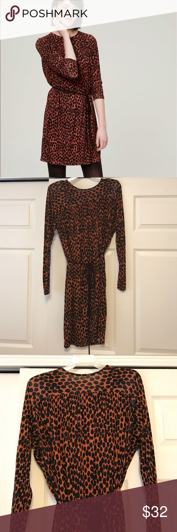 Loft animal print long sleeved dress Tie waist. Perfect condition. Great for work or play! 🐆 LOFT Dresses