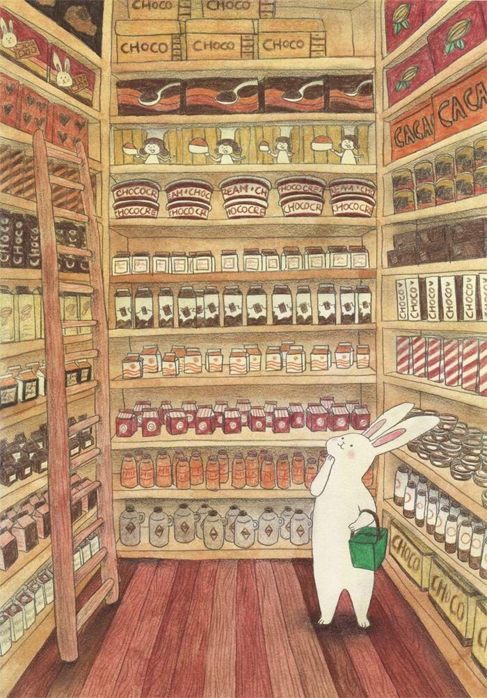 el conejo de pascua comprando los chocolatines