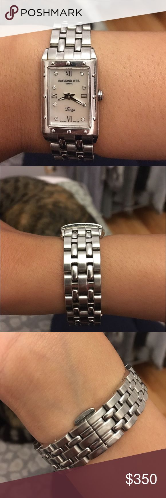 Raymond Weil Swiss made watch This Raymond Weil watch is Swiss made and has real diamonds on the face. It can use some polishing but is a very classy watch minor scratches. Raymond Weil Accessories Watches
