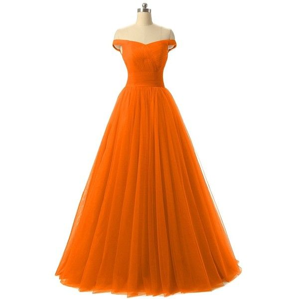 Nina A-line Tulle Prom Formal Evening Homecoming Dress Ball Gown... (£40) ❤ liked on Polyvore featuring dresses, gowns, orange evening gown, a line prom dresses, evening cocktail dresses, orange evening dresses and evening gowns