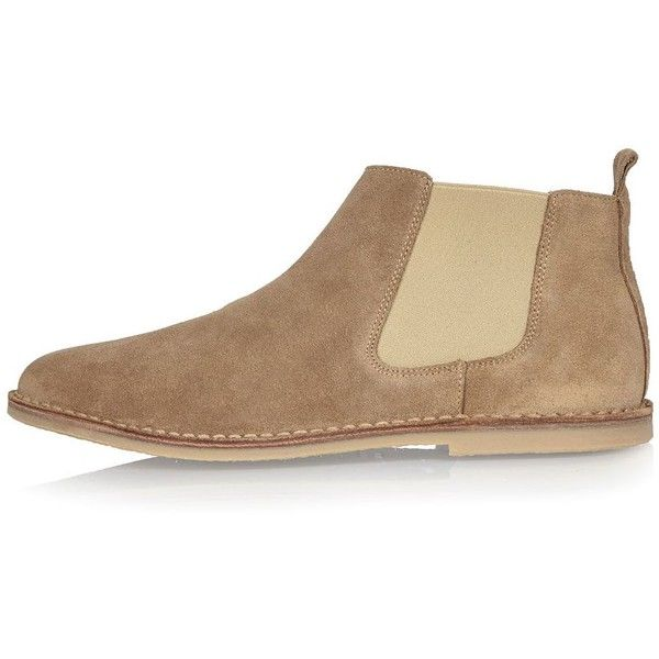 River Island Stone suede Chelsea boots ($78) ❤ liked on Polyvore featuring men's fashion, men's shoes, men's boots, shoes, stone, mens suede boots, mens round toe cowboy boots, mens suede chelsea boots and mens suede shoes