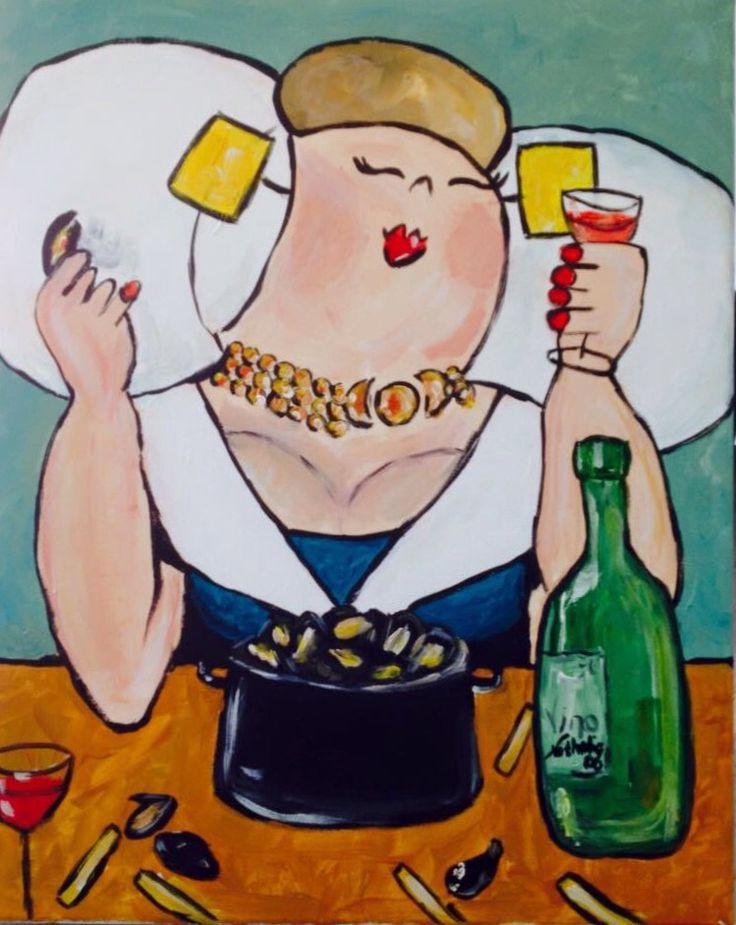 Zeeuwse dame geschilderd tijdens workshop bij Lianne Leijnse