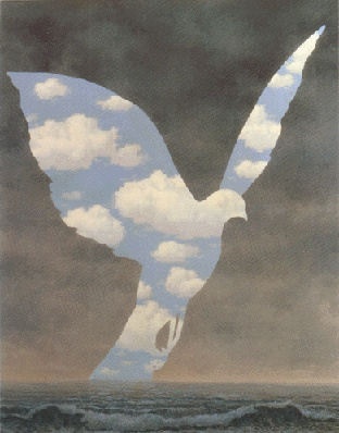 The Grand Family 1963. René Magritte: the silhouette of a bird resembling a dove with its body filled with clouds has been used by Magritte in several paintings. This was painted a few years before the artist's death and so this serene and surreal oil painting represents his most developed works of art. Doves symbolize love, peace and tranquility – They also symbolize hope.