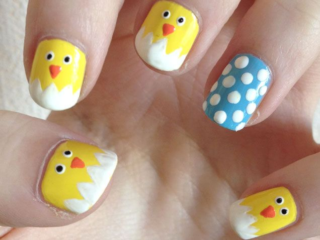 Hatching Chicks #Nails http://www.ivillage.com/easter-nail-art-nail-designs/5-a-526787#