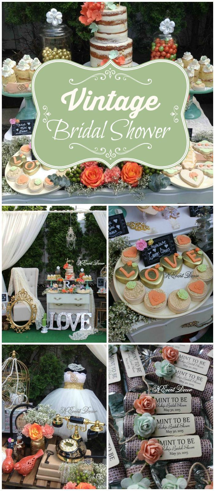 So many amazing details at this vintage bridal shower! See more party ideas at http://CatchMyParty.com!