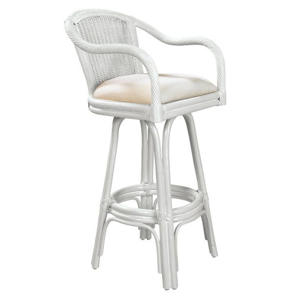 A Coastal Wicker And Rattan Swivel Bar Stool That Is Built With