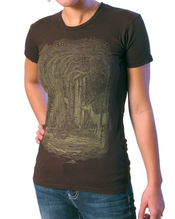 Tangled Forest Tshirt on Espresso Brown  by ScatterbrainTees. $19.50