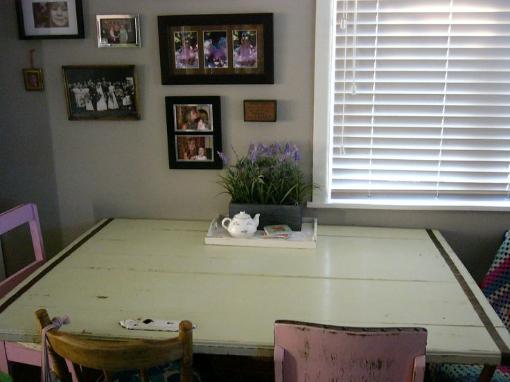 Vintage Style Kitchen Table made from old timber door. We added some copper and a bit of paint.