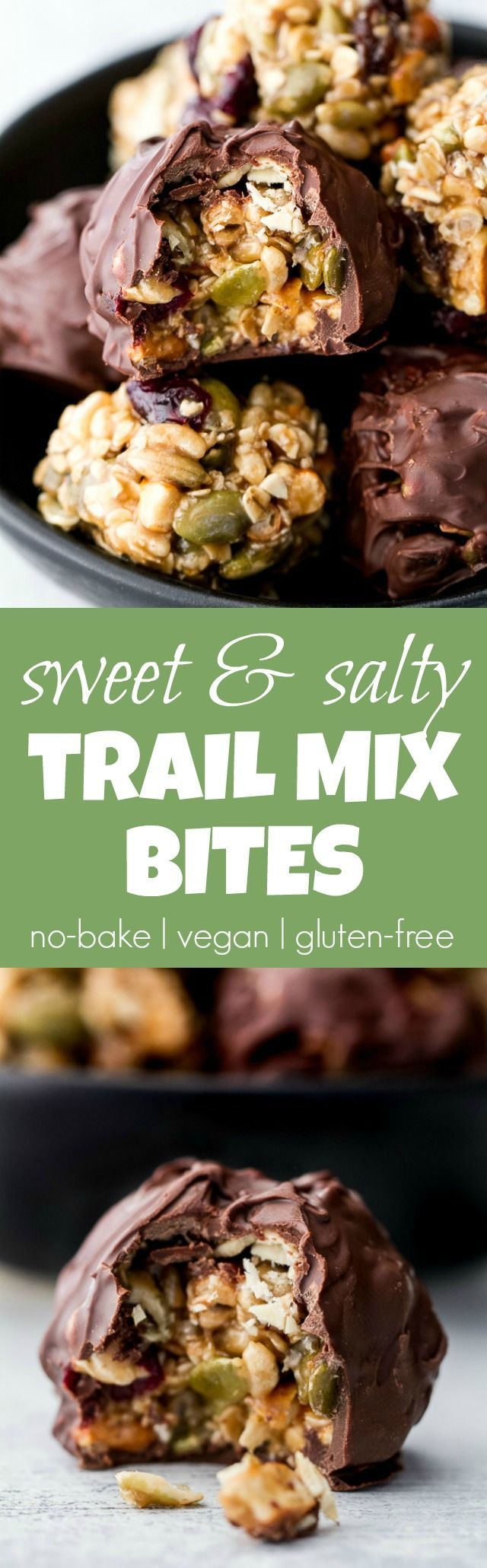 Sweet, salty, chewy, and crisp, these no-bake trail mix bites are sure to satisfy any craving! Gluten-free, nut-free, and vegan, they're a healthy snack that anyone can enjoy! | http://runningwithspoons.com