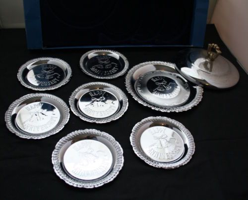 7-Piece-Happy-Anniversary-Silver-Plated-Plate-Coasters-with-Free-Cover