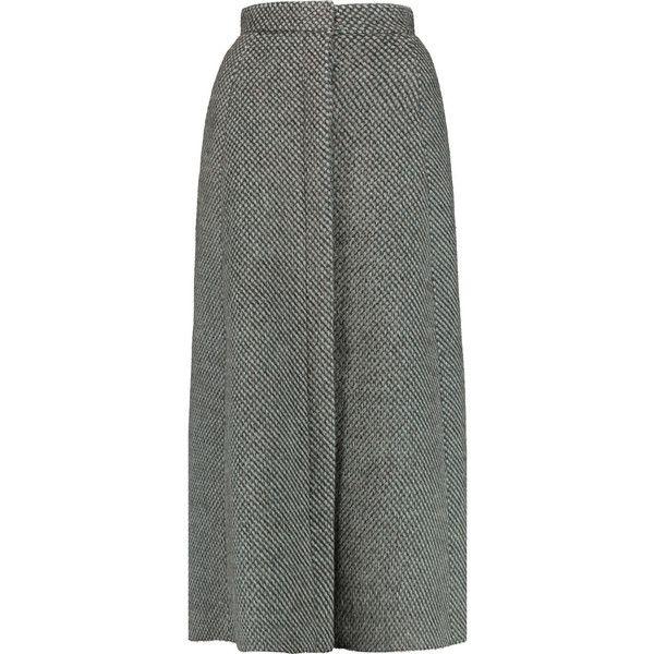 DELPOZO Textured-felt midi skirt (€695) ❤ liked on Polyvore featuring skirts, grey, gray skirt, midi skirt, mid-calf skirt, gray midi skirt and calf length skirts