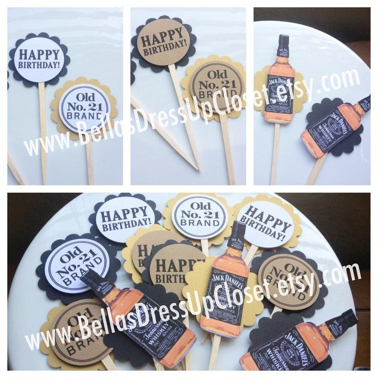 Jack Daniels 30th Birthday Theme Cupcake Toppers. $21.95, via Etsy.