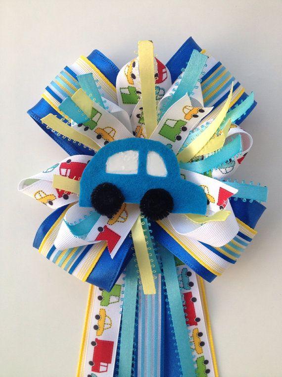 Boy Baby Shower Car Transportation Blue Corsage Mum  on Etsy, $14.99