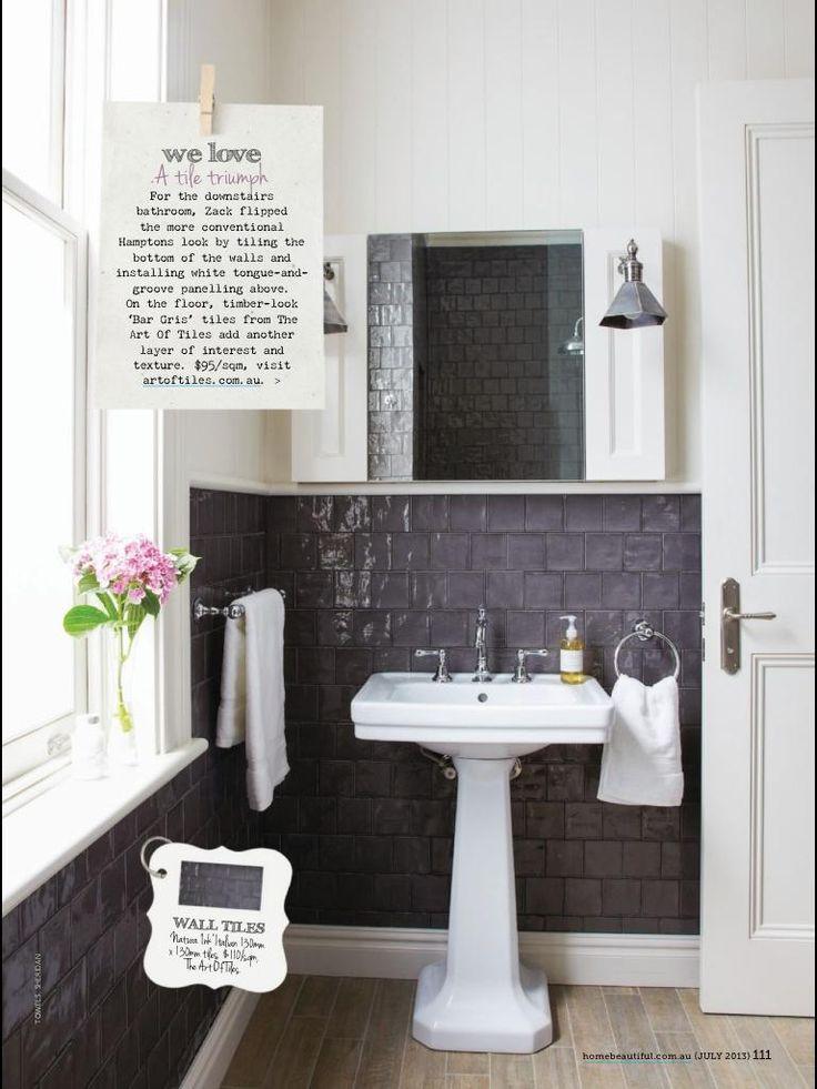Dark Bathroom tiles on  wall - Home Beautiful Magazine July 2013