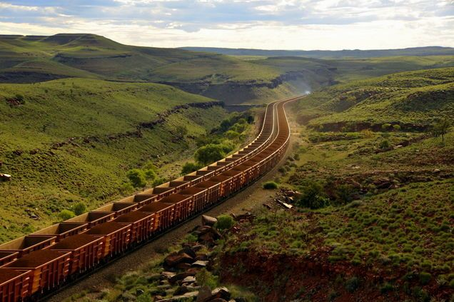 two trains passing in the Chichester Range in the Pilbara region, Western Australia