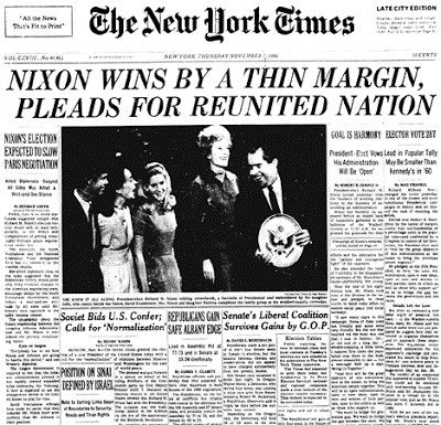 """November 1968: RepublicanRichard M. Nixonwins the U.S. presidential elections on the campaign promises to restore """"law and order"""" and to end the draft."""