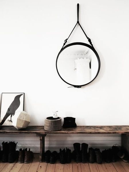 gubi leder spiegel jacques adnet mirror m mirror vintage and interiors. Black Bedroom Furniture Sets. Home Design Ideas