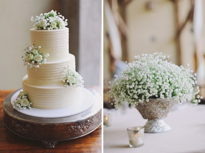 simple wedding cake with baby's breath - Google Search