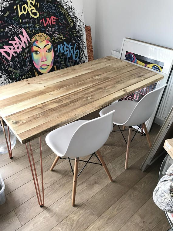 Dining Table Copper Hairpin Leg Reclaimed 7magok Industrial Custom
