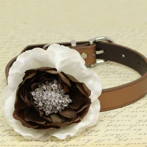 #White and #Brown #Flower #Dog #Collars, #Beaded #Dogs collar, #pet #Wedding #accessory, #Puppy #Love