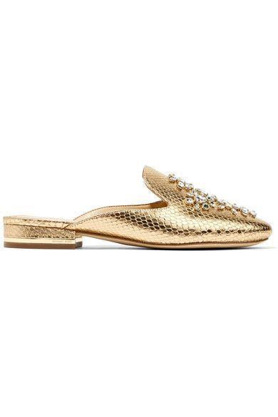 MICHAEL Michael Kors - Edie Embellished Metallic Snake-effect Leather Slippers - Gold