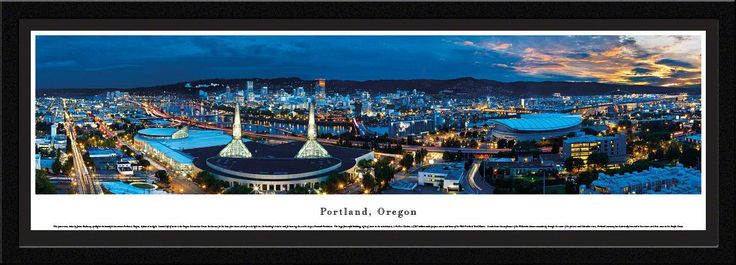 Portland Skyline Panoramic Picture Framed, Oregon