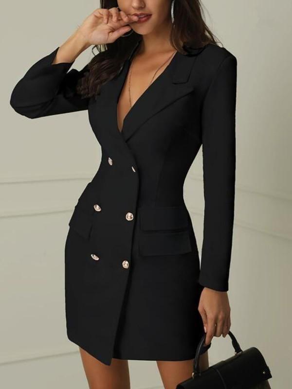 Black Double Breasted Turndown Collar Deep V-neck Bodycon Clubwear Party Mini Dress