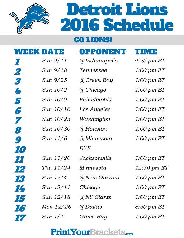 Detroit Lions Schedule - 2016