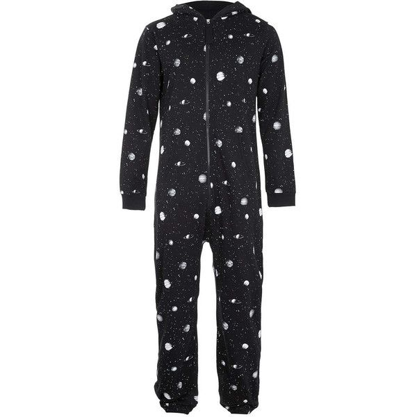 TOPMAN Black Cosmic Print Onesie (4.280 HUF) ❤ liked on Polyvore featuring men's fashion, men's clothing, onesie, pajamas, multi and galaxy mens clothing