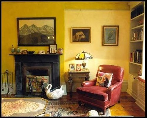 Yellow living room + two-tone paint by Nickey Kehoe by xJavierx, via Flickr