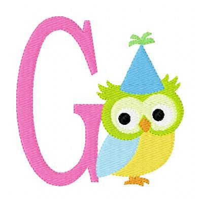 Owl with Party Hat Monogram Machine Embroidery Font Design Set
