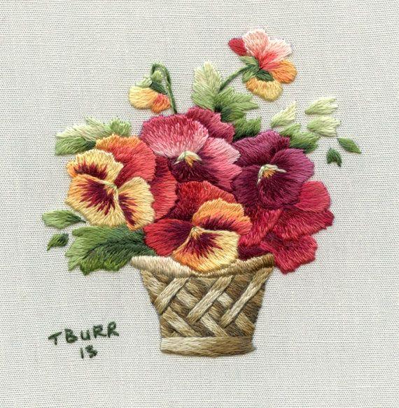 DIGITAL ITEM French Translation Miniature Autumn Pansy Basket