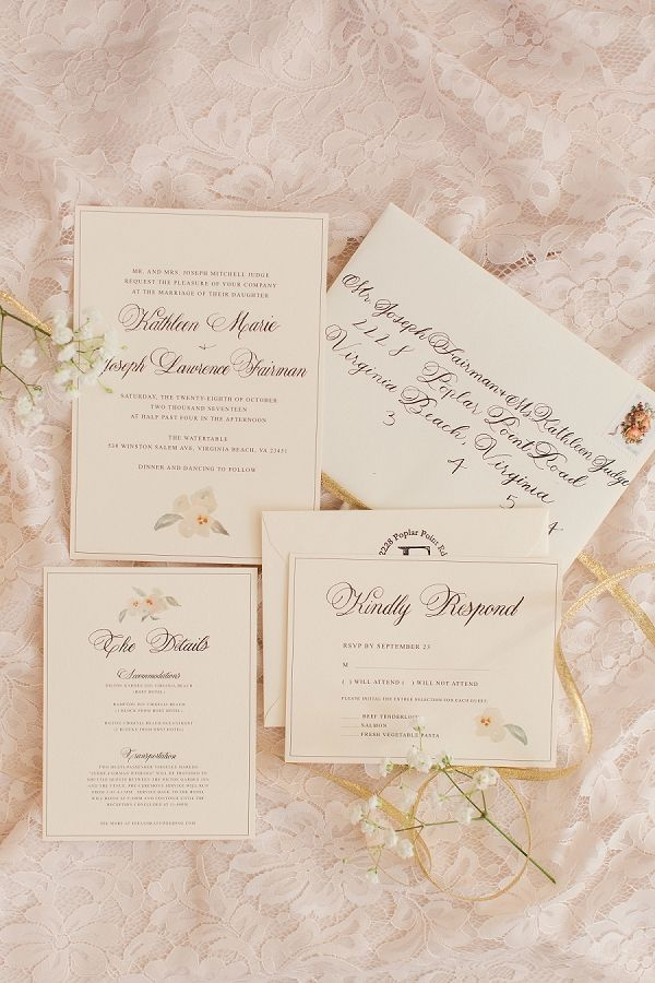 Romantic blush British inspired wedding invitations